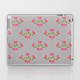 Flower bouquet on a gray striped background. Laptop & iPad Skin