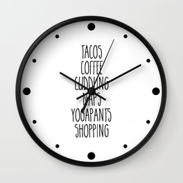 Tacos & Coffee Funny Quote Wall Clock
