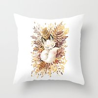 brown Throw Pillows featuring Slumber by Freeminds