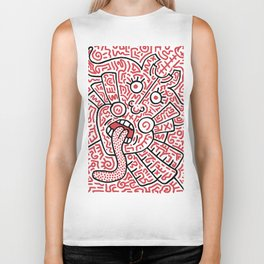 """The Face"" - inspired by Keith Haring v. red Biker Tank"