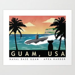Guam - Retro Submarine Homeport Art Print