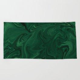 Modern Cotemporary Emerald Green Abstract Beach Towel