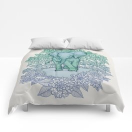 Emerald Elephant in the Lilac Evening Comforters
