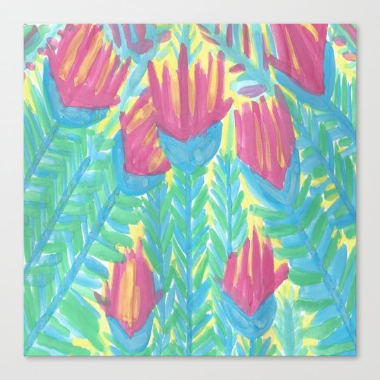 Lotus Garden Abstract Canvas Print