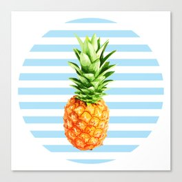 Pineapple, blue stripes, kitchen poster, garden poster, rounded Canvas Print
