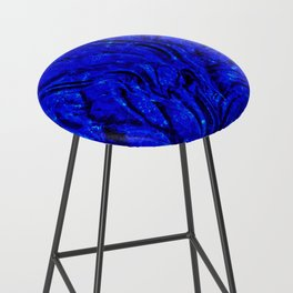 Indigo Lovely Calm Blue, Moroccan Traditional Texture Painting (N30) Bar Stool