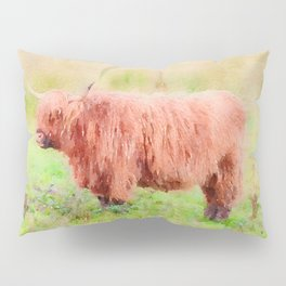Highland cow watercolor painting #7 Pillow Sham