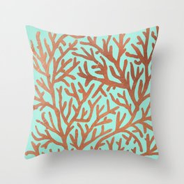 Copper Coral Throw Pillow