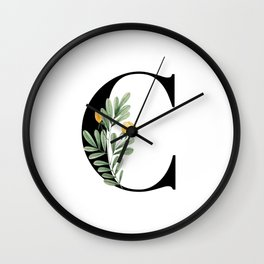 C Floral Letter Initial Wall Clock