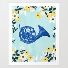 Blue French Horn Art Print