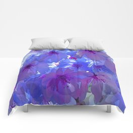 Blue Cherry Blossoms Comforters