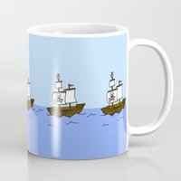 pirate ship Mugs featuring Pirate Ship by Isobel Woodcock Illustration