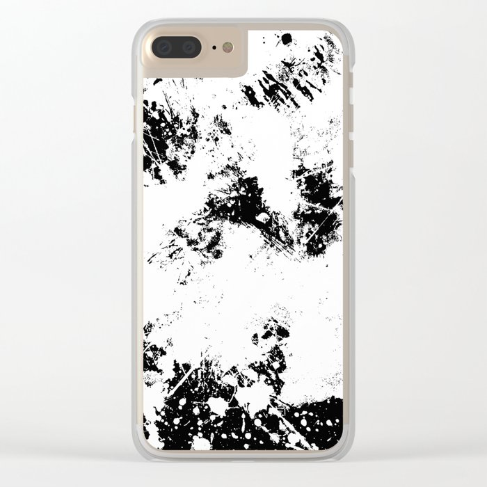 Spilt White Textured Black And White Abstract Painting Clear iPhone Case