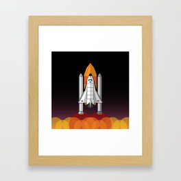 Space Shuttle night launch Framed Art Print