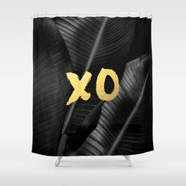 XO gold - bw banana leaf Shower Curtain