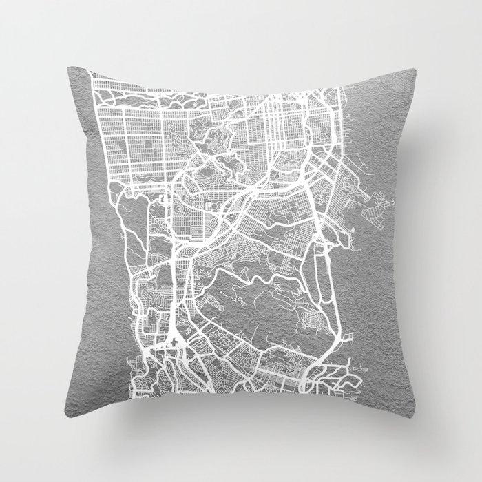 Silver San Francisco map Throw Pillow