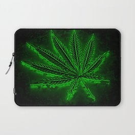 glowing hemp leaf Laptop Sleeve
