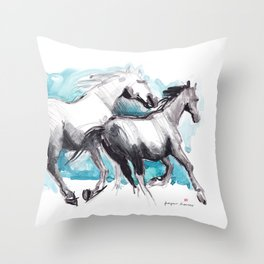 Horses (Mom&kid) Throw Pillow
