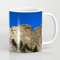 rushmore Mugs featuring Mount Rushmore  by Brett Knight