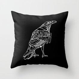 Raven White Throw Pillow