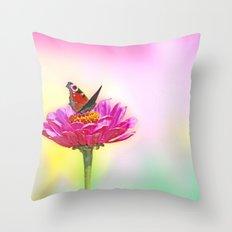 Butterfly landing on pink flower Throw Pillow
