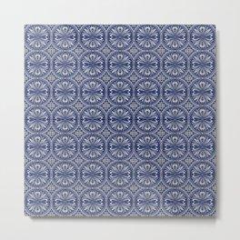 Vintage European blue tiles pattern Metal Print