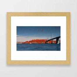 Treasure Island and the Bay Bridge, with birds Framed Art Print
