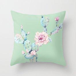 Rose Desert Cactus Mint Green + Pink Throw Pillow