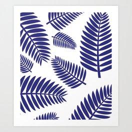 Blue Leaves Ferns Pattern Art Print