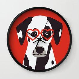 Valentine Dogs - Dalmatian Wall Clock