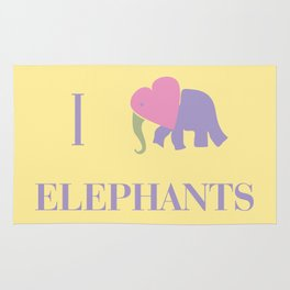 I Heart Elephants Rug