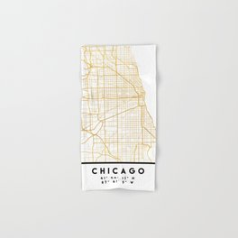 CHICAGO ILLINOIS CITY STREET MAP ART Hand & Bath Towel