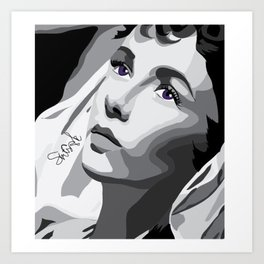 Elizabeth Taylor - Purple Eyes Art Print