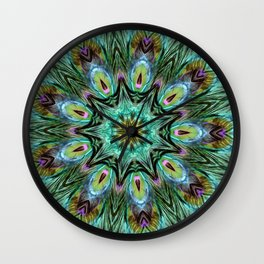 Colorful Peacock Feather Kaleidoscope Wall Clock