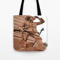 battlefield Tote Bags featuring Battlefield by Photaugraffiti