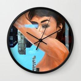 Blue Skies and Roses Wall Clock
