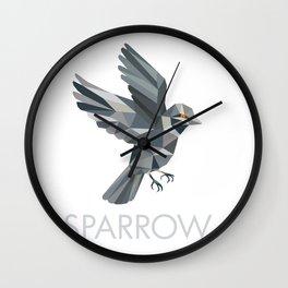 Sparrow Text Low Polygon Wall Clock