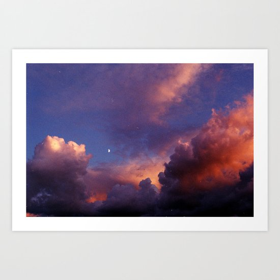 Moon in Sunset Clouds Art Print