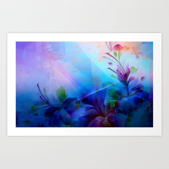 Sunset Painterly Floral Art Print