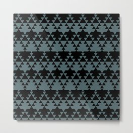 Southwest Stripes in Black + Sage Green Metal Print