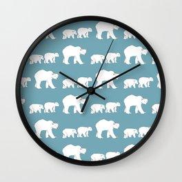 Snow Bears Blue Wall Clock