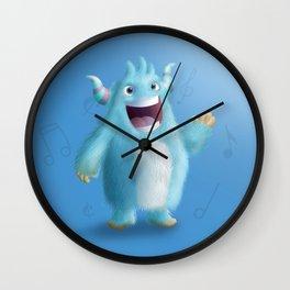 Cute little blue singer monster - Custom T Shirt Wall Clock