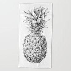 Pineapple, tropical fruit illustration Beach Towel