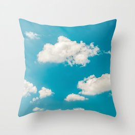 Deep Blue Summer Sky, White Clouds On Turquoise Sky, Heaven Scenery, Wall Art, Poster Decor Throw Pillow