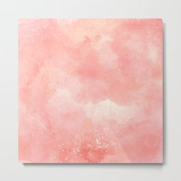 Abstract artistic coral pink watercolor gradient pattern Metal Print