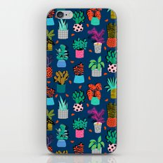 Check It - house plants indoor monstera neon bright modern pattern retro throwback memphis style iPhone & iPod Skin