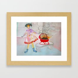Girl in Sock Feet with Barbecue Framed Art Print