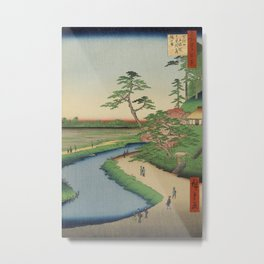 Spring Trees on Aqueduct Ukiyo-e Japanese Art Metal Print