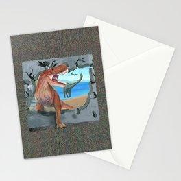 Dinosaur has Broken Through the Wall Stationery Cards