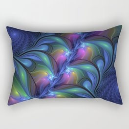 Colorful Luminous Abstract Blue Pink Green Fractal Rectangular Pillow